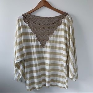 5/$25 Gold & White Striped Metallic Lace Top